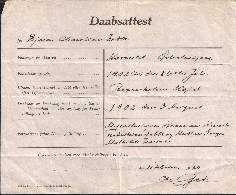 fødselsattest på engelsk